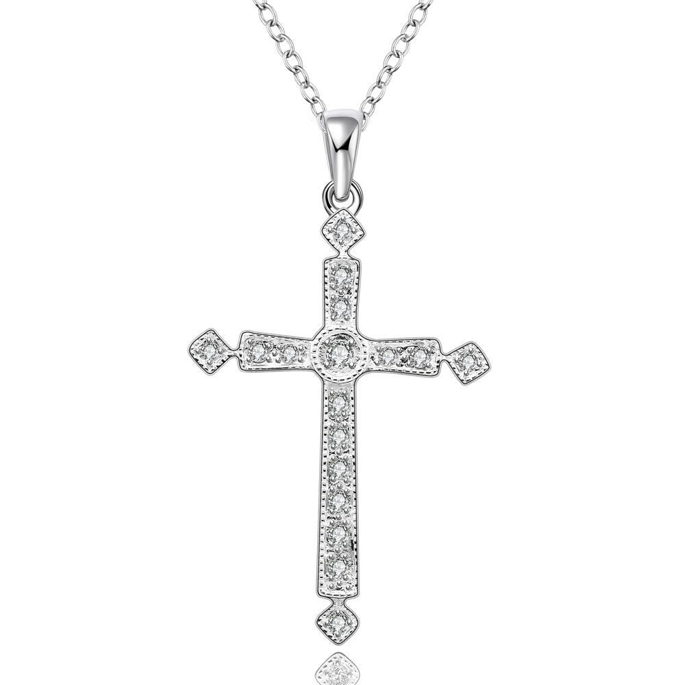 Vienna Jewelry Sterling Silver Petite Crystal Cross Drop Necklace