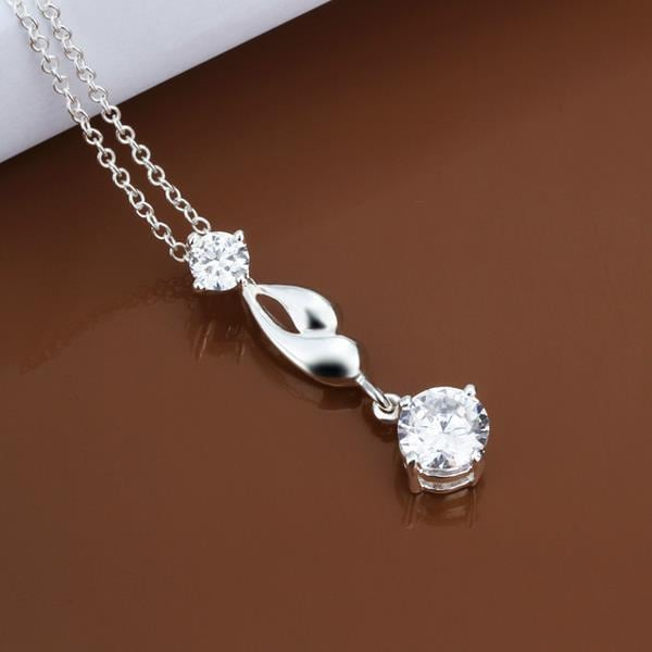 Vienna Jewelry Sterling Silver Crystal Drop Dangling Necklace