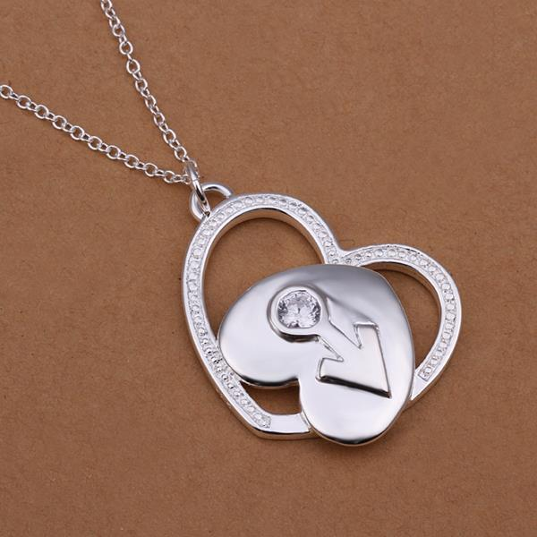 Vienna Jewelry Sterling Silver Duo-Hearts Emblem Drop Necklace
