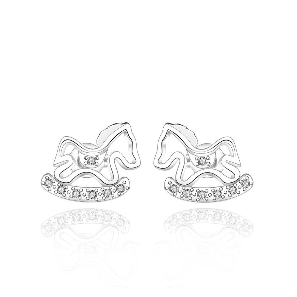 Vienna Jewelry Sterling Silver Running Pony Stud Earring