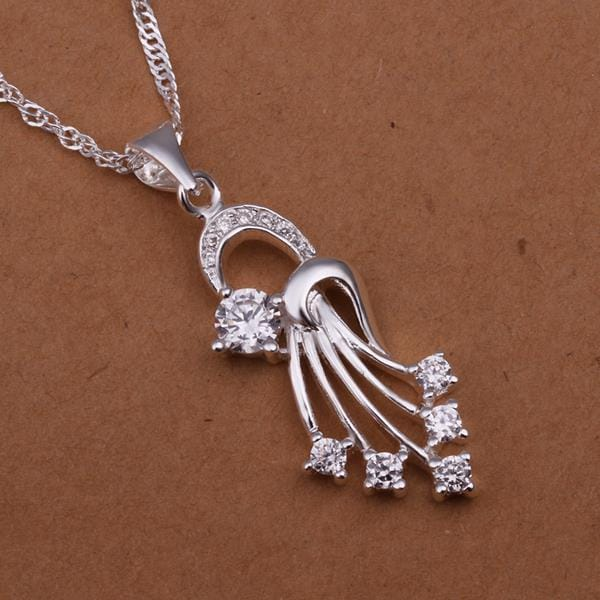 Vienna Jewelry Sterling Silver Spiral Emblem Drop Necklace