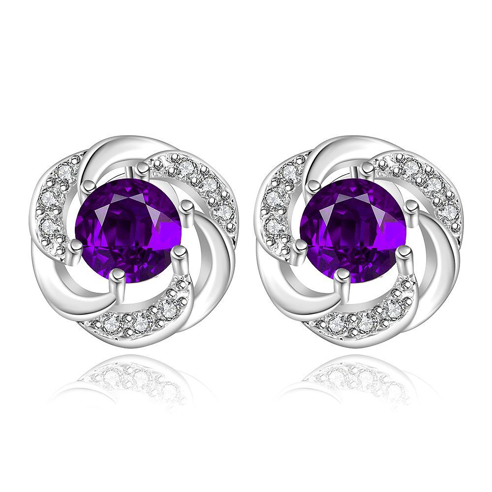 Vienna Jewelry Sterling Silver Curved Circular Purple Citrine Stud Earring