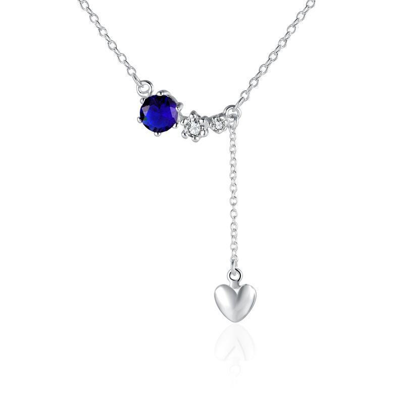 Vienna Jewelry Sterling Silver Mock Sapphire Dangling Petite Heart Modern Necklace