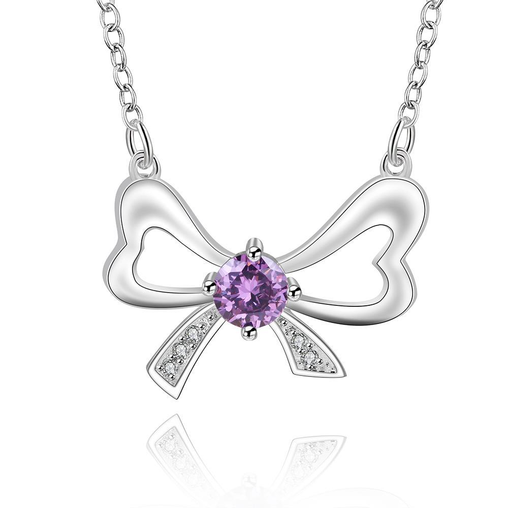 Vienna Jewelry Sterling Silver Purple Citrine Knot Pendant Necklace