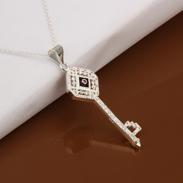 Vienna Jewelry Sterling Silver Modern Keychain Drop Necklace