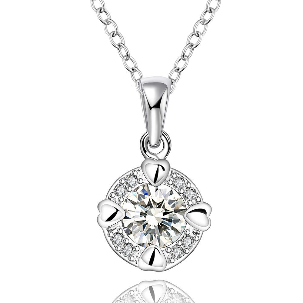 Vienna Jewelry Sterling Silver Center Crystal Drop Necklace