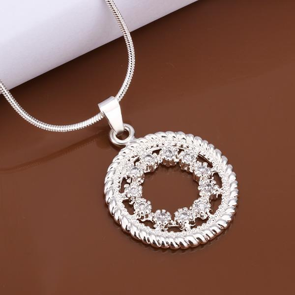 Vienna Jewelry Sterling Silver Crystal Jewels Pendant Necklace