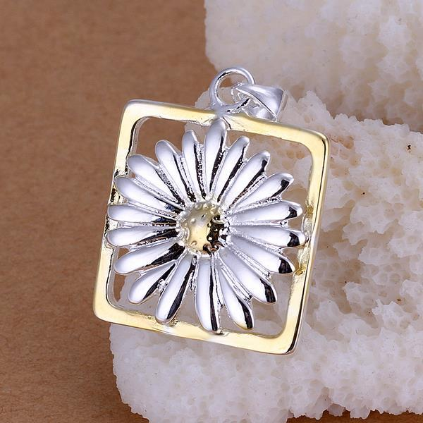 Vienna Jewelry Sterling Silver Floral Square Pendant
