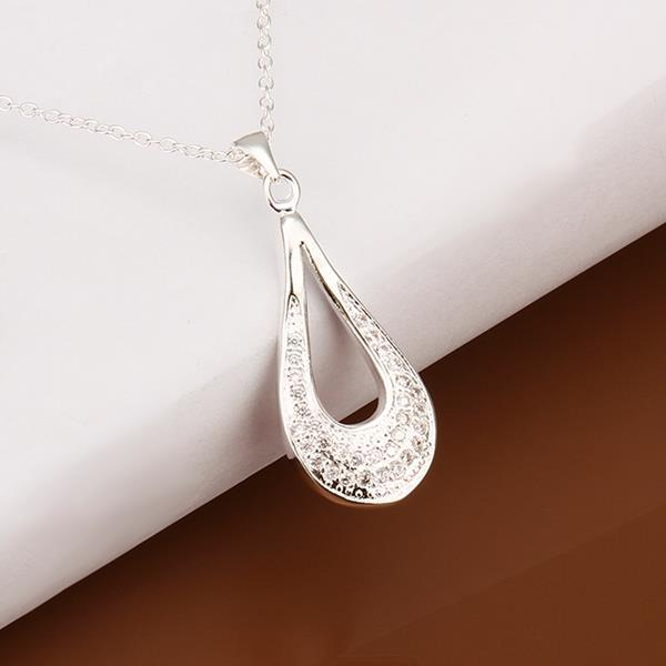 Vienna Jewelry Sterling Silver Hollow Tear Drop Necklace