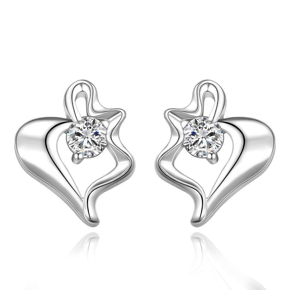Vienna Jewelry Sterling Silver Curved Heart Shaped Stud Earring
