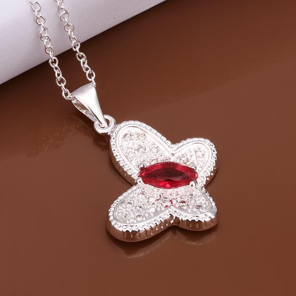 Vienna Jewelry Sterling Silver Ruby Gem Butterfly Pendant Necklace