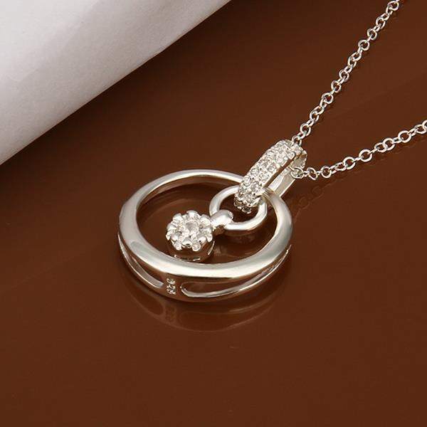 Vienna Jewelry Sterling Silver Crystal Circular Emblem Drop Necklace