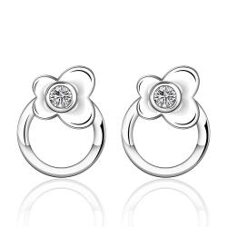 Vienna Jewelry Sterling Silver Petite Circular Floral Earring - Thumbnail 0