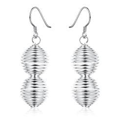 Vienna Jewelry Sterling Silver Spiral Design Drop Drop Earring - Thumbnail 0