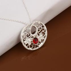 Vienna Jewelry Sterling Silver Laser Cut Ruby Gem Pendant Necklace - Thumbnail 0