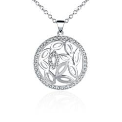 Vienna Jewelry Sterling Silver Laser Cut Floral Shaped Emblem Necklace - Thumbnail 0