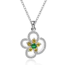 Vienna Jewelry Sterling Silver Yellow Citrine Floral Petal Drop Necklace - Thumbnail 0