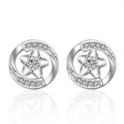 Vienna Jewelry Sterling Silver Petite Heart Shaped Circualr Stud Earring - Thumbnail 0