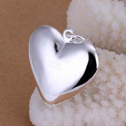 Vienna Jewelry Sterling Silver Petite Heart Shaped Pendant - Thumbnail 0