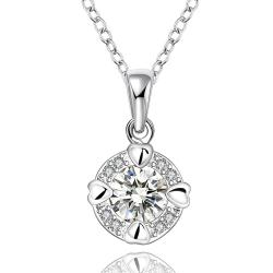 Vienna Jewelry Sterling Silver Center Crystal Drop Necklace - Thumbnail 0