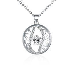 Vienna Jewelry Sterling Silver Laser Cut & Crystal Pendant Necklace - Thumbnail 0