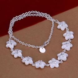 Vienna Jewelry Sterling Silver Multi-Floral Design Necklace - Thumbnail 0