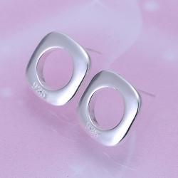 Vienna Jewelry Sterling Silver Hollow Square Studs - Thumbnail 0