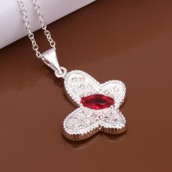 Vienna Jewelry Sterling Silver Ruby Gem Butterfly Pendant Necklace - Thumbnail 0
