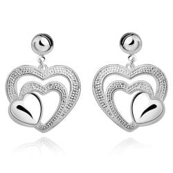 Vienna Jewelry Sterling Silver Modern & Classical Trio-Heart Stud Earring - Thumbnail 0