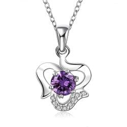 Vienna Jewelry Sterling Silver Curved Heart with Purple Citrine Gem Necklace - Thumbnail 0