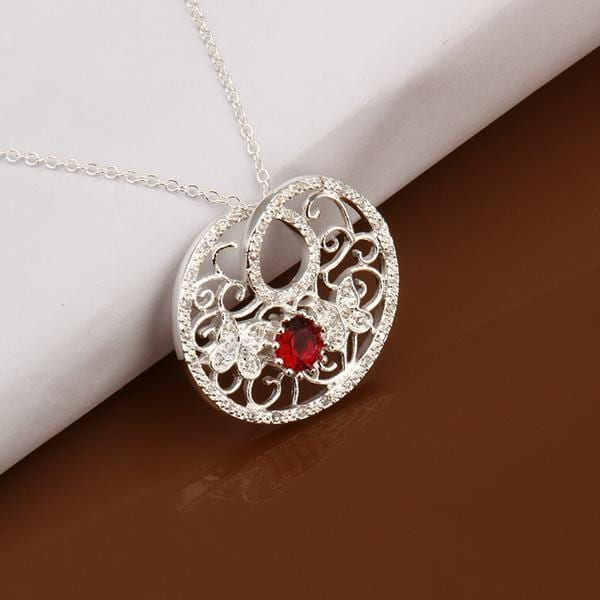 Vienna Jewelry Sterling Silver Laser Cut Ruby Gem Pendant Necklace