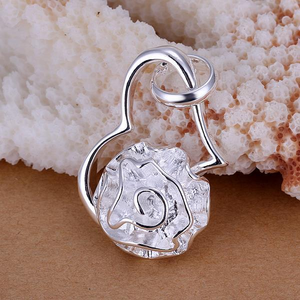 Vienna Jewelry Sterling Silver Hollow Heart & Floral Pendant