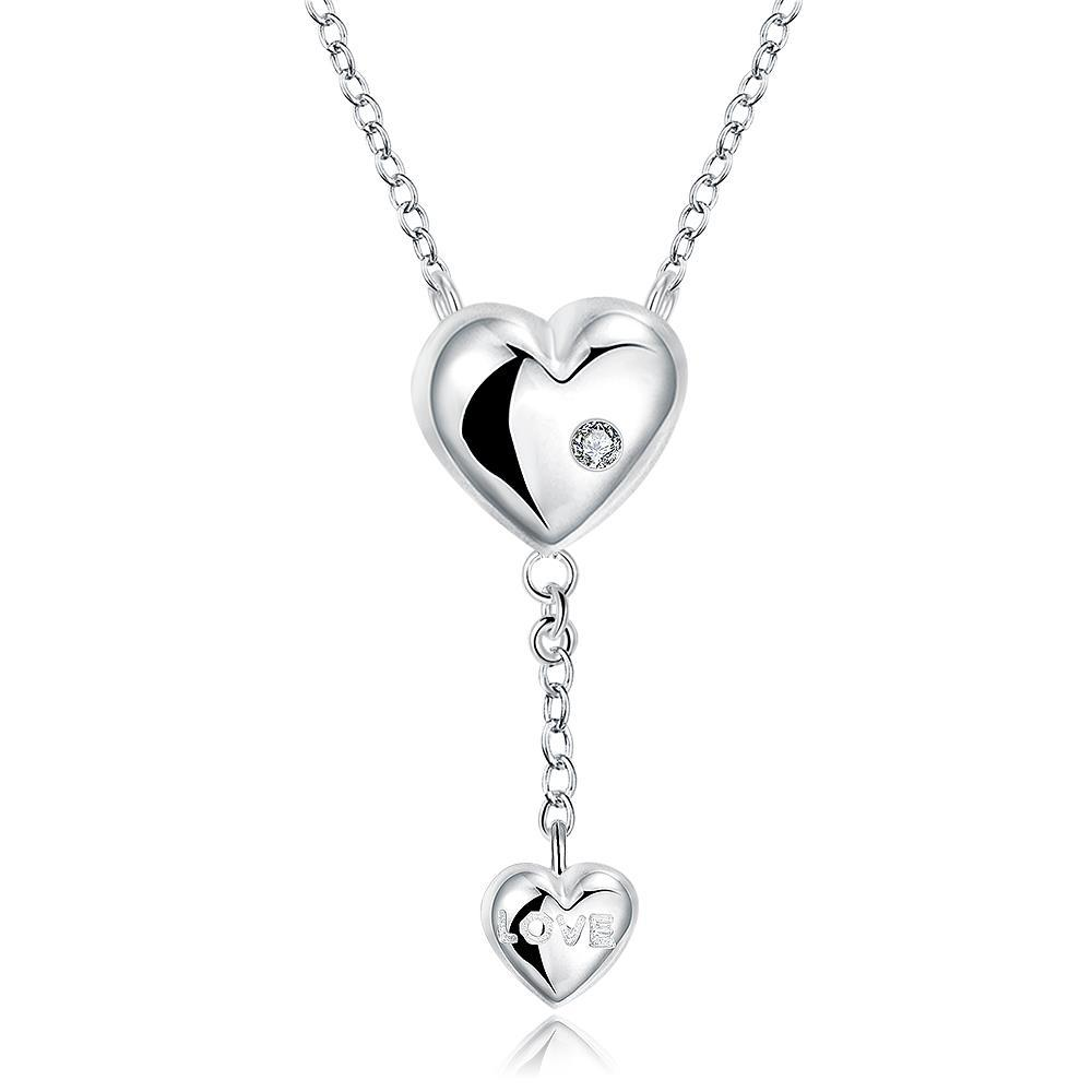 Vienna Jewelry Sterling Silver Duo Dangling Heart Shaped Necklace