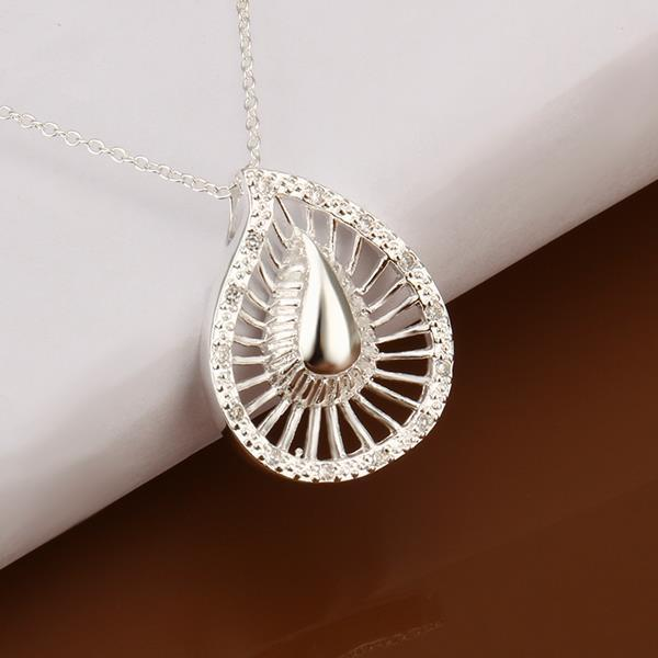 Vienna Jewelry Sivler Tone Laser Cut Swirl Emblem Necklace - Thumbnail 0
