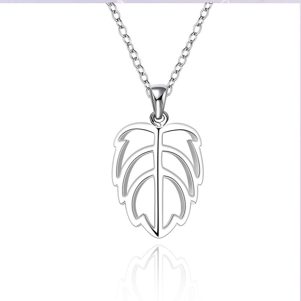 Vienna Jewelry Sivler Tone Laser Cut Leaf Branch Drop Necklace