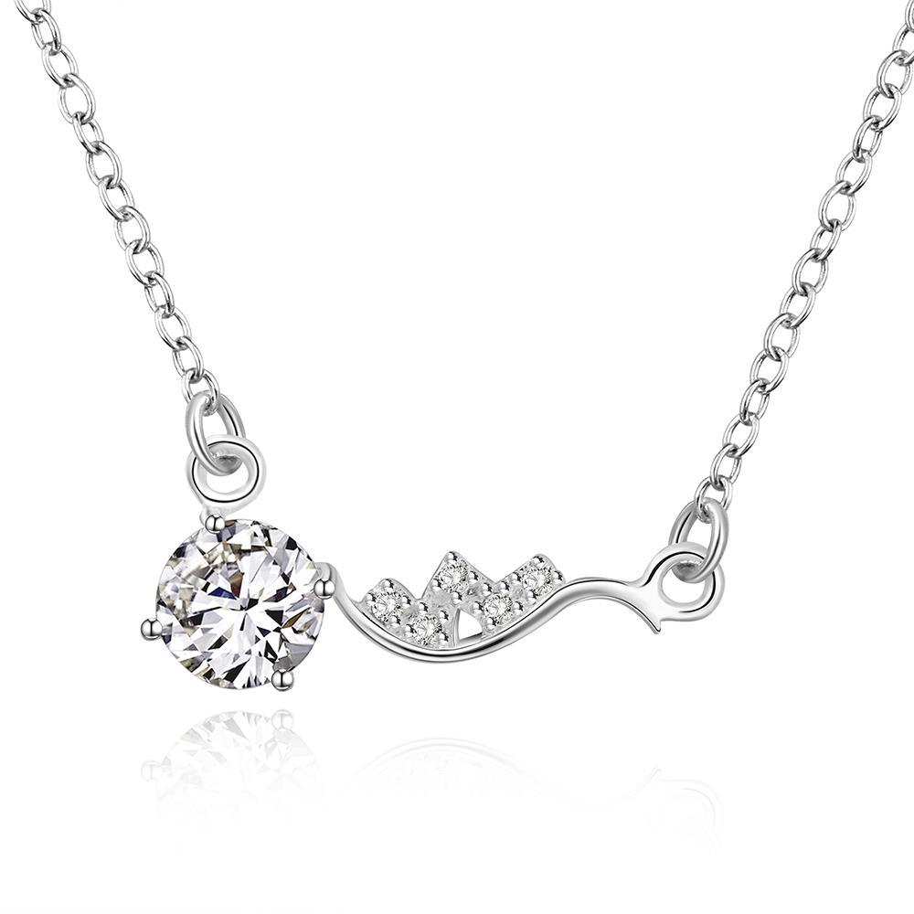 Vienna Jewelry Sterling Silver Side Lining Classical Crystal Necklace
