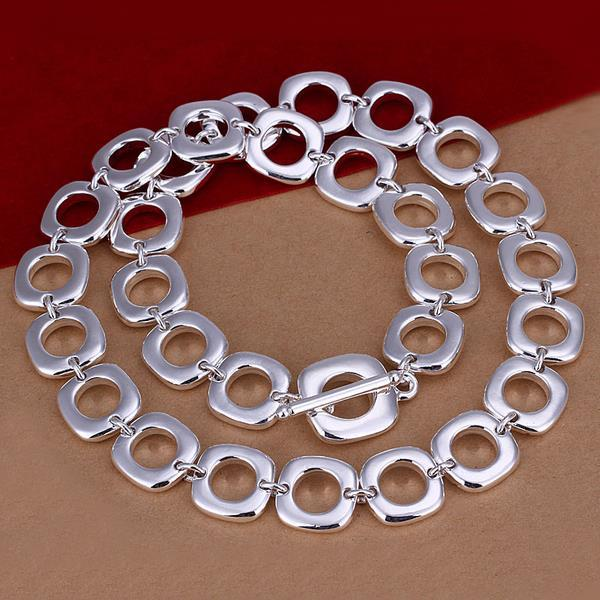 Vienna Jewelry Sterling Silver Multi Hollow Circular Necklace