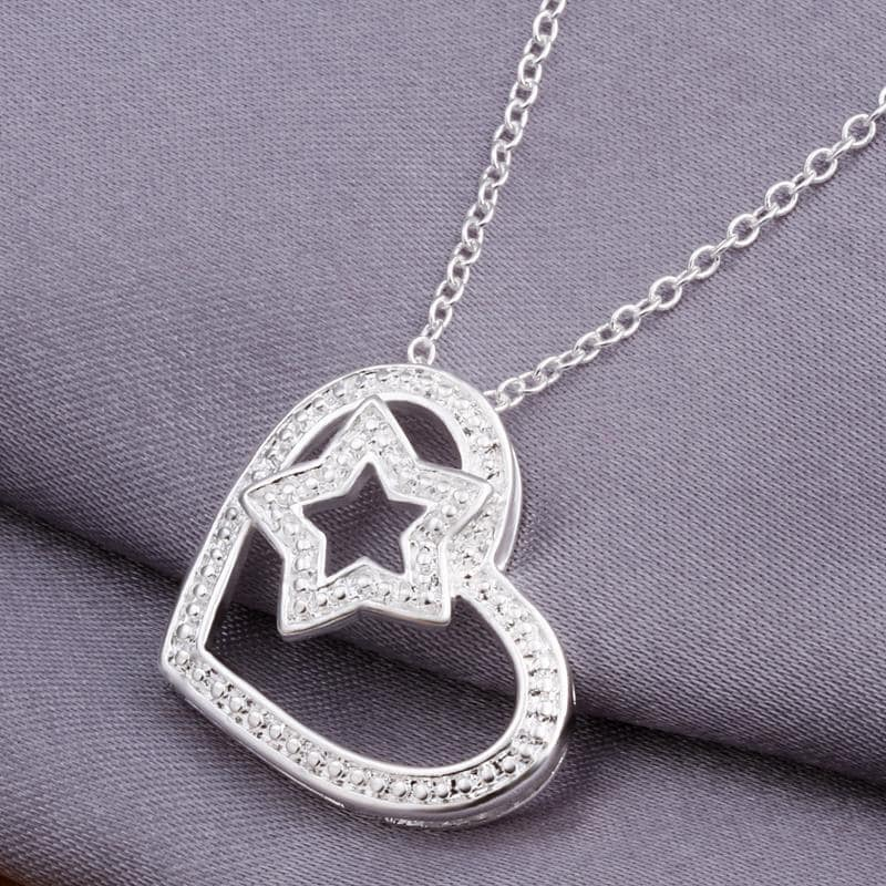 Vienna Jewelry Sterling Silver Star & Heart Pendant