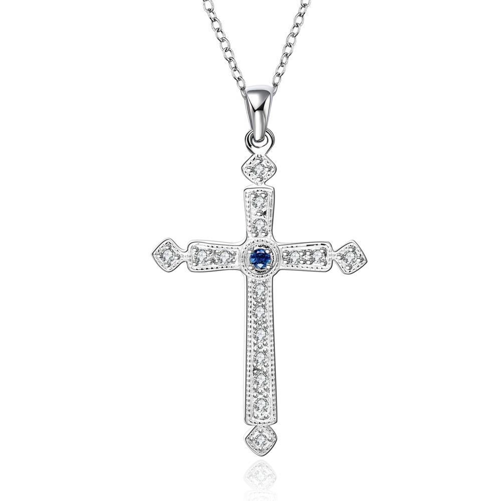 Vienna Jewelry Sterling Silver Petite Mock Sapphire Cross Drop Necklace