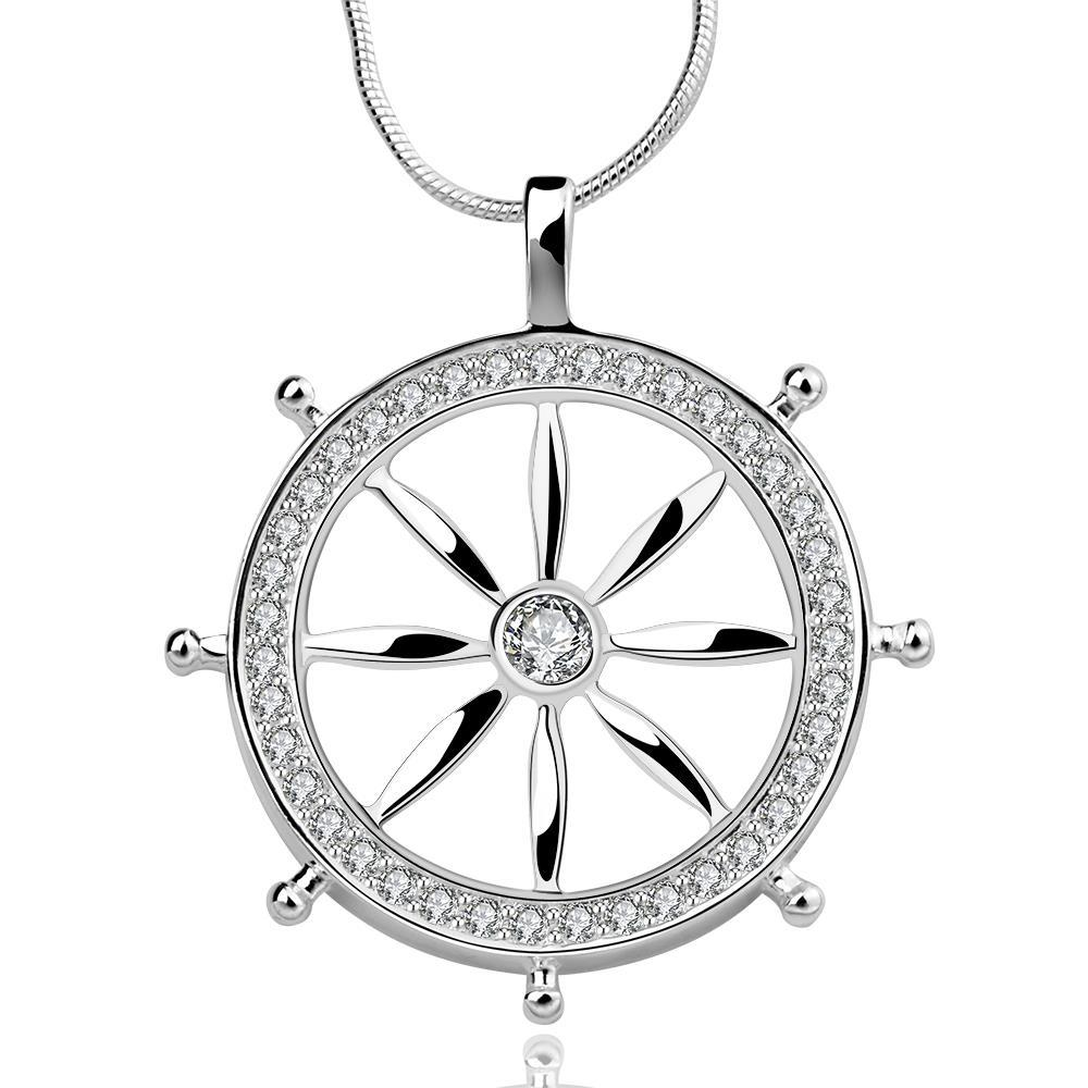 Vienna Jewelry Sterling Silver The Captain's Wheel Drop Necklace