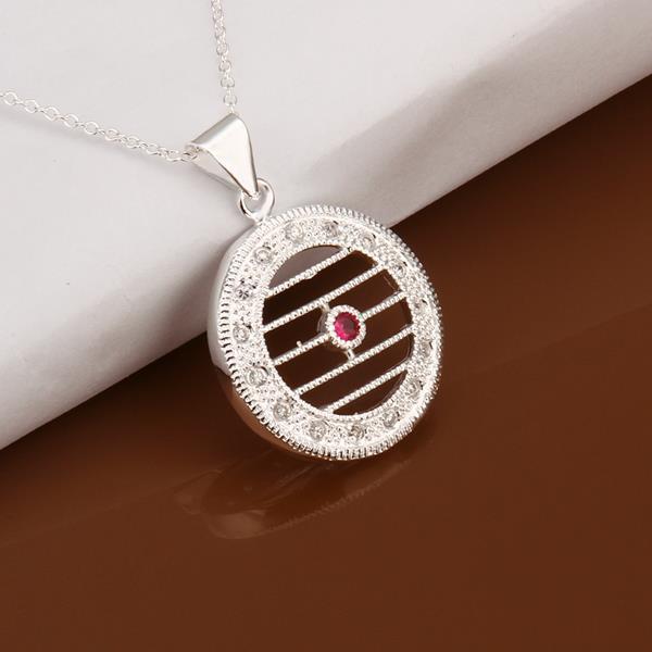 Vienna Jewelry Sterling Silver Laser Cut Horizontal Circular Emblem Necklace