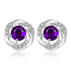 Vienna Jewelry Sterling Silver Curved Circular Purple Citrine Stud Earring - Thumbnail 0