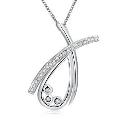 Vienna Jewelry Sterling Silver Curved Crystal Lining Necklace - Thumbnail 0