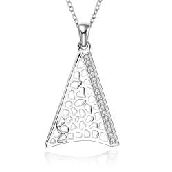Vienna Jewelry Sterling Silver Laser Cut Pyramid Necklace - Thumbnail 0