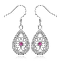 Vienna Jewelry Sterling Silver Hollow Clover Shaped Drop Earring - Thumbnail 0