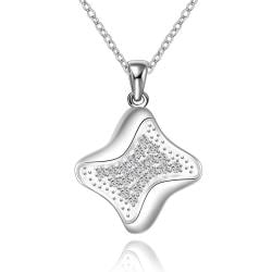 Vienna Jewelry Sterling Silver Curved Rhombus Pendant Necklace - Thumbnail 0