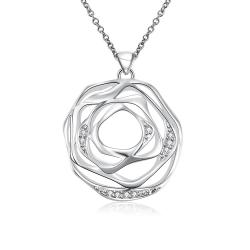 Vienna Jewelry Sterling Silver Laser Cut Floral Petal Pendant Necklace - Thumbnail 0