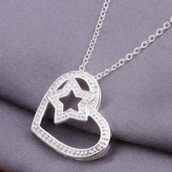Vienna Jewelry Sterling Silver Star & Heart Pendant - Thumbnail 0