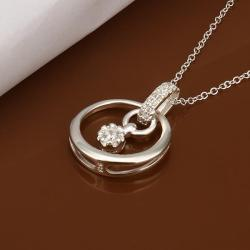 Vienna Jewelry Sterling Silver Crystal Circular Emblem Drop Necklace - Thumbnail 0