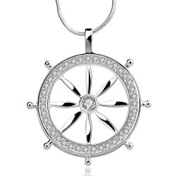 Vienna Jewelry Sterling Silver The Captain's Wheel Drop Necklace - Thumbnail 0